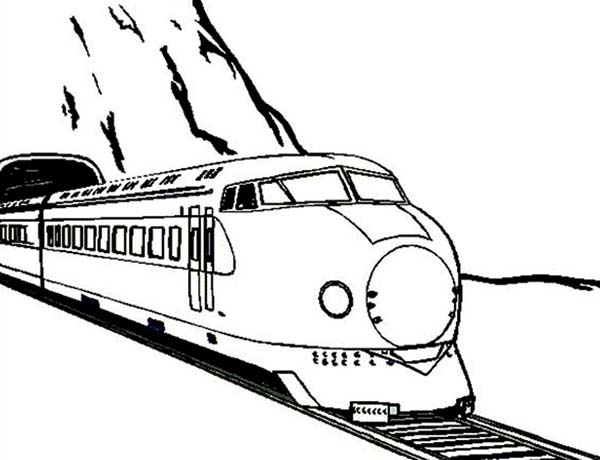 Trains, : Train Came Out from a Tunnel Coloring Page