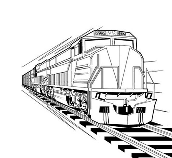 Trains, : Train Locomotive Coloring Page