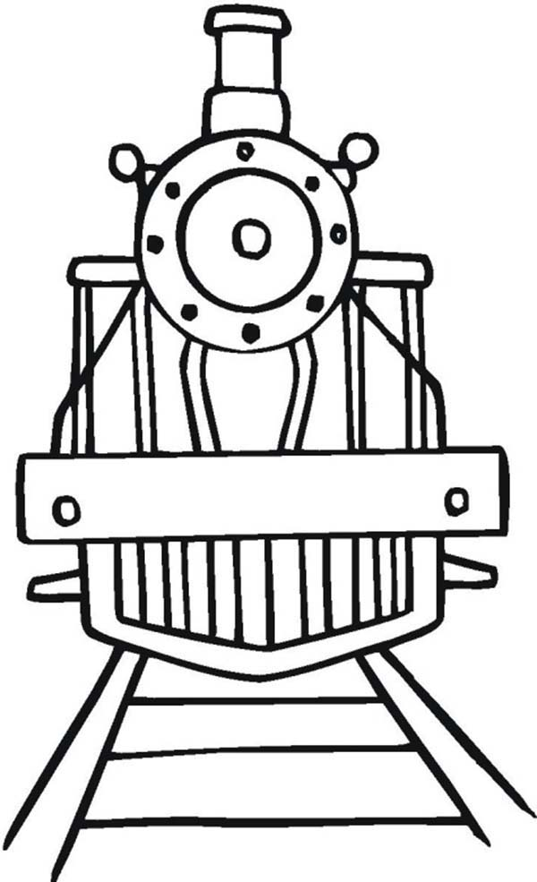 Trains, : Train Picture from Front Angle Coloring Page