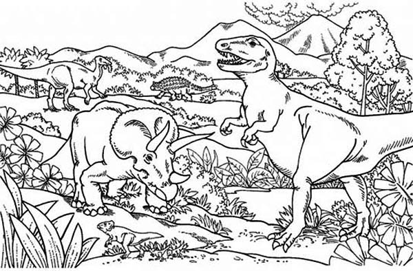 Triceratops Attacking T Rex Coloring Page Color Luna