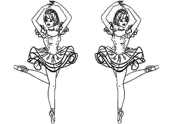 Ballerina, : Twin Ballerina Coloring Page