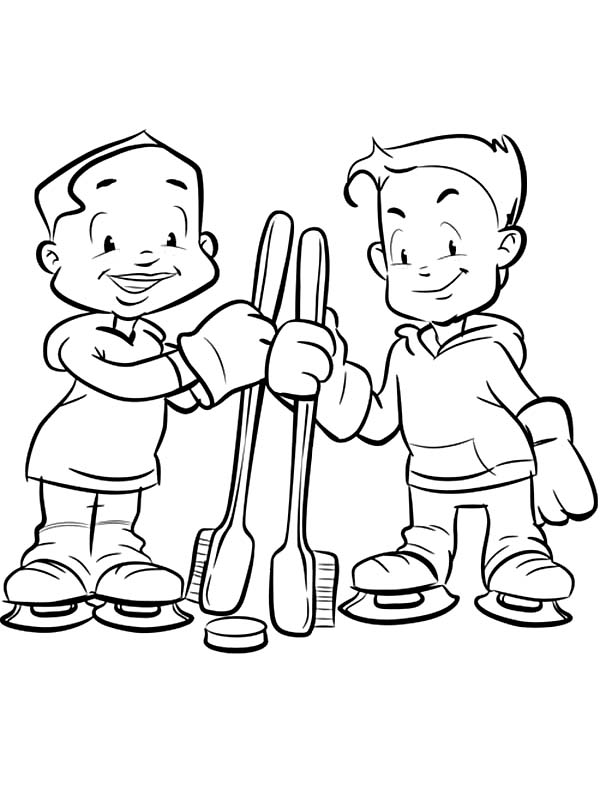 Dental Health, : Two Kids Holding Tooth Brush in Dental Health Coloring Page