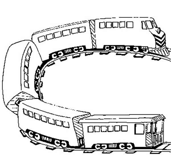 Railroad, : U Turn on Railroad Coloring Page