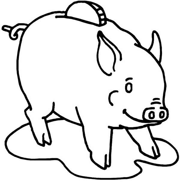 Piggy Bank, : Use Piggy Bank to Save Your Money Coloring Page