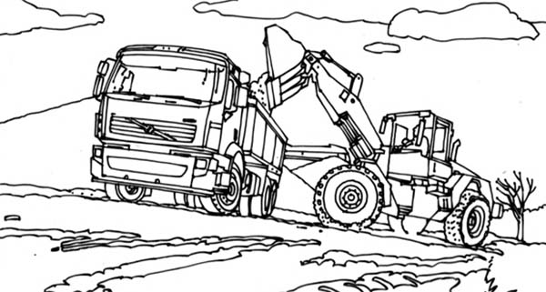Digger, : VTN Tractor Filling Truck with Dirt in Digger Coloring Page