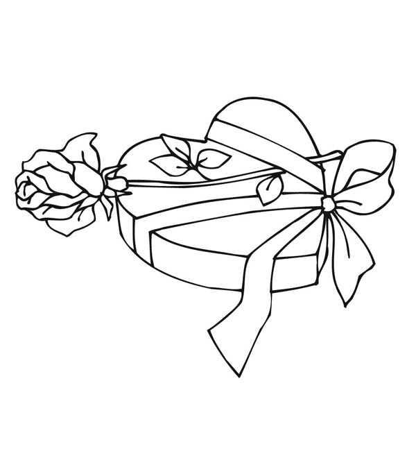 Hearts & Roses, : Valentine Present of Hearts and Roses Coloring Page