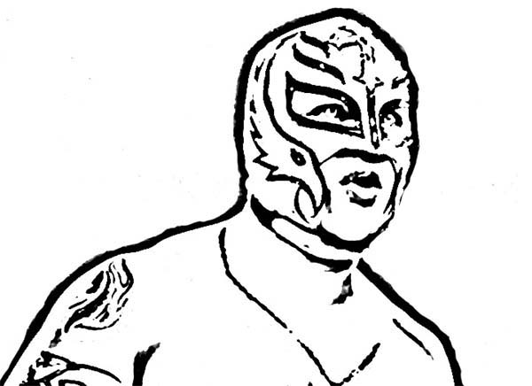 Wrestling, : WWE Wrestling Contender Rey Mysterio Coloring Page