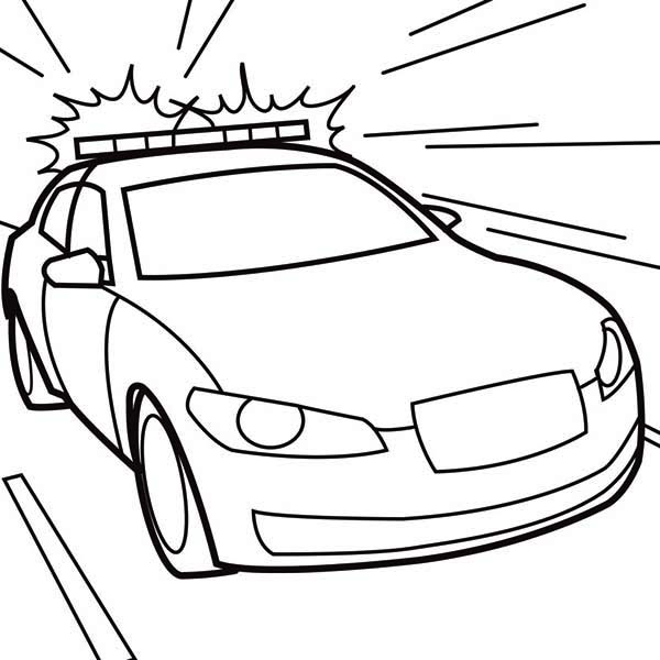 police car wailing sirene on police car coloring page - Police Car Coloring Pages