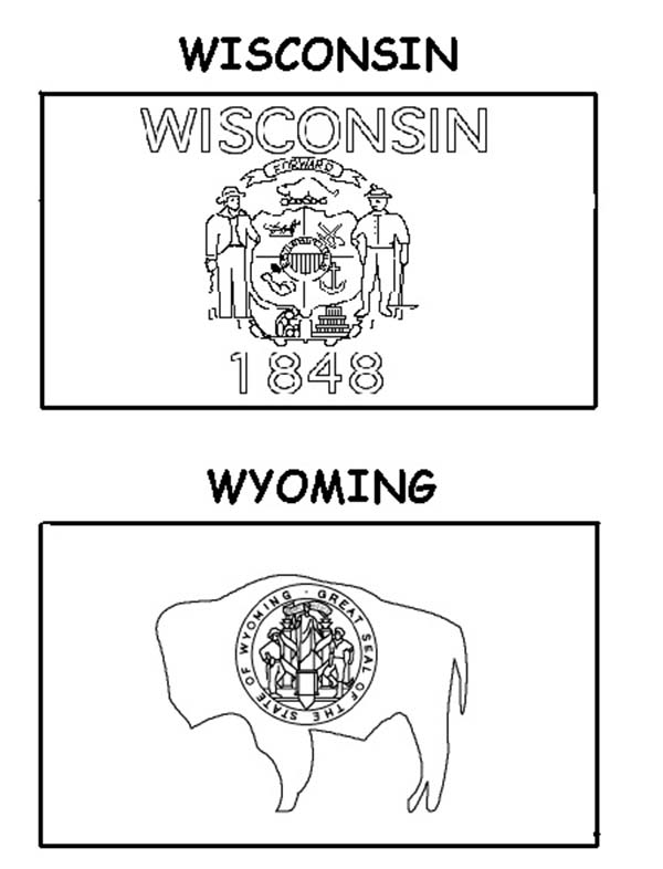 State Flag, : Wisconsin and Wyoming State Flag Coloring Page