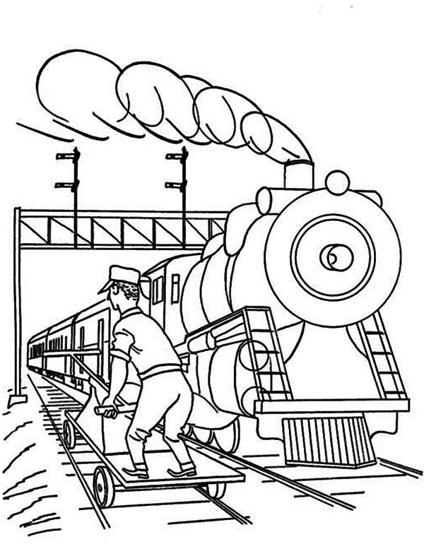 Railroad, : Worker Checking for Railroad Safety Coloring Page