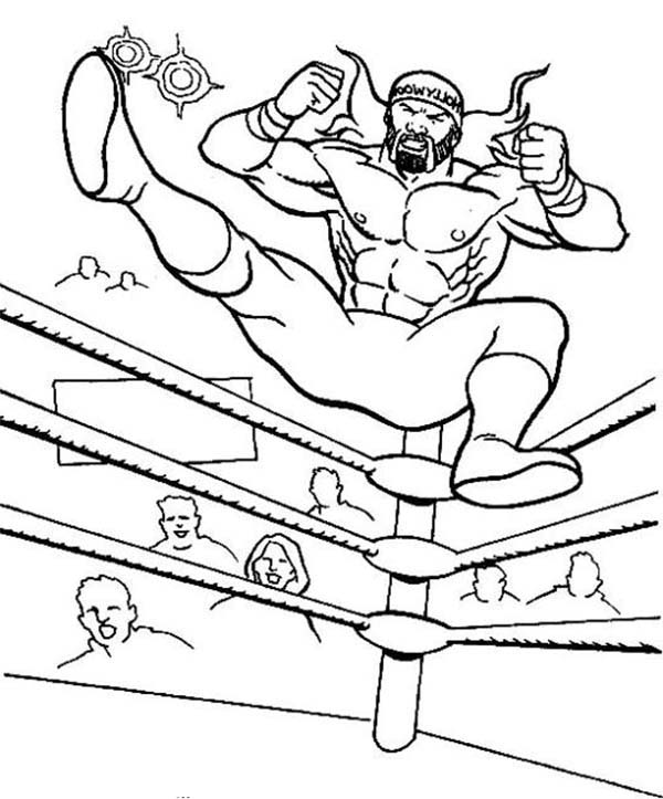 wrestler jump from wrestling ring coloring page