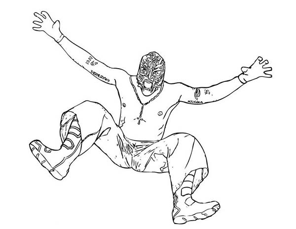 Wrestling, : Wrestling Opponent Rey Mysterio Coloring Page