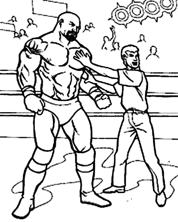 Wrestling, : Wrestling Referee Cornered a Wrestler Coloring Page