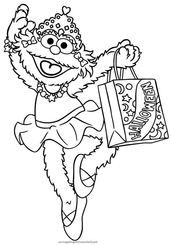 Zoe and Bag Full of Candy in Sesame Street Halloween Coloring Page ...