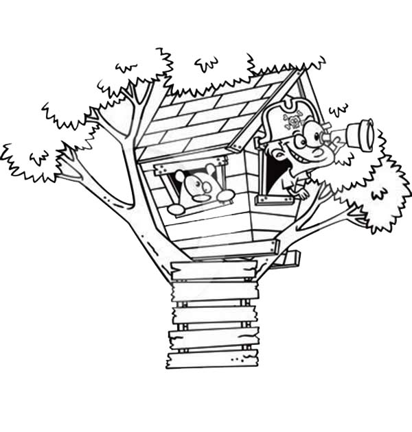 Treehouse, : A Boy Playing Pirate on Treehouse Coloring Page