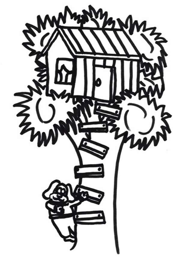 A Dog Climb A Treehouse Coloring Page