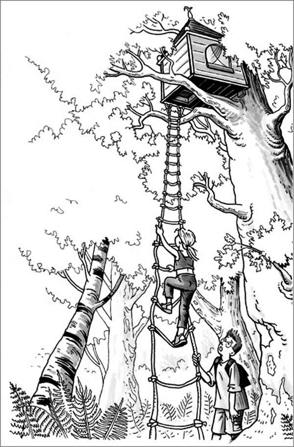 a girl climbing a treehouse coloring page