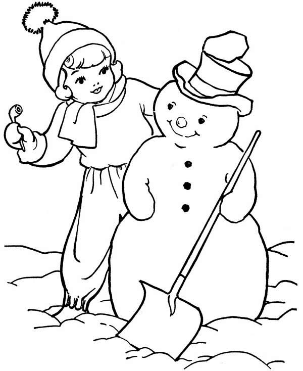 Snowman, : A Girl and Snowman Coloring Page