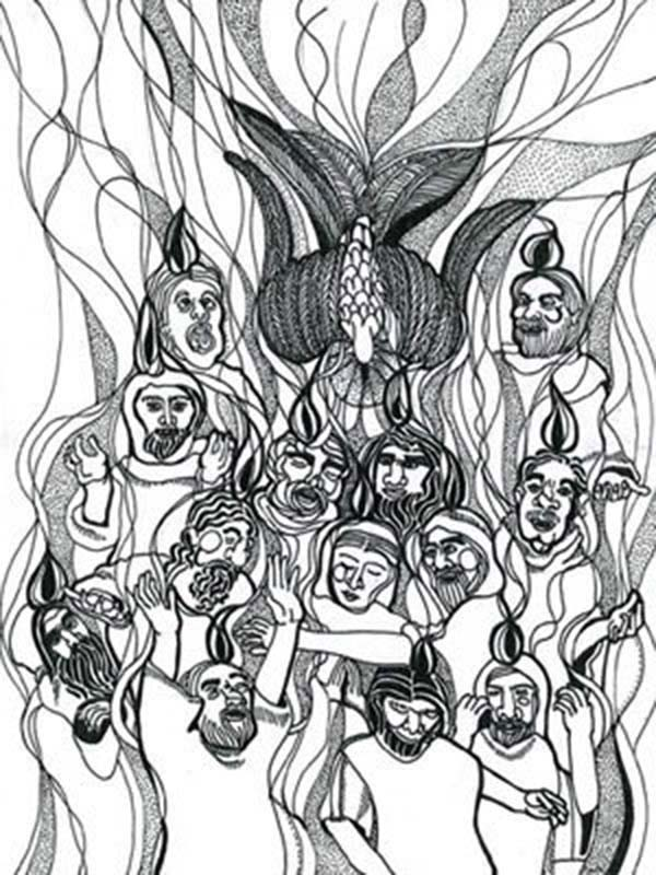 Pentecost, : Awesome Picture of in Pentecost Coloring Page