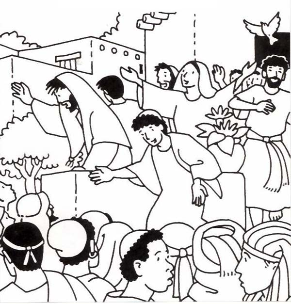 Birthday of the church in pentecost coloring page for Pentecost coloring pages