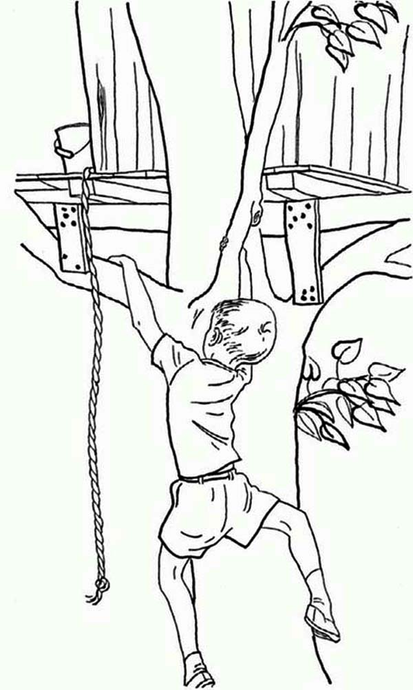 Treehouse, : Boy Climb His Treehouse without a Rope Coloring Page