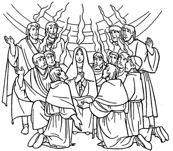 Pentecost, : Celebrate Commerating of Holy Spirit in Pentecost Coloring Page