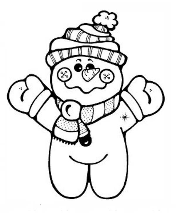 Snowman, : Chibi Snowman Coloring Page