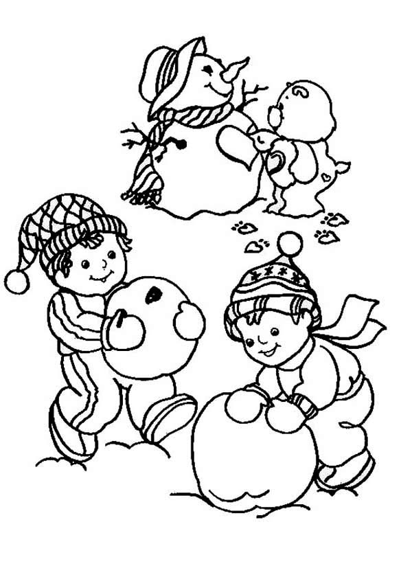 Children Making A Snowman Coloring Page