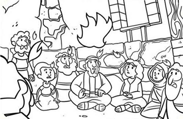 Commerating the Descent of Holy Spirit in Pentecost Coloring Page