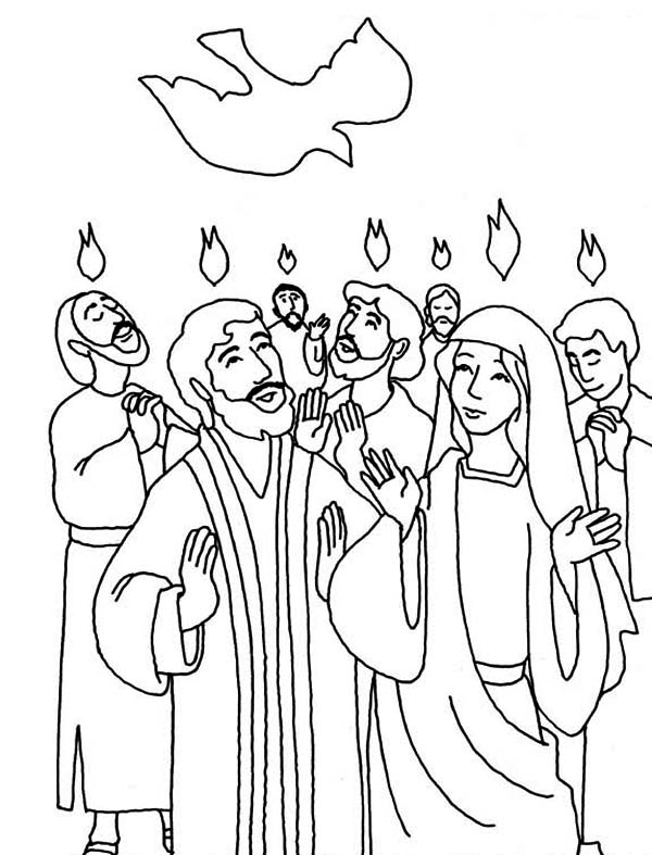 Pentecost, : Everyone is Praise Pentecost Day Coloring Page