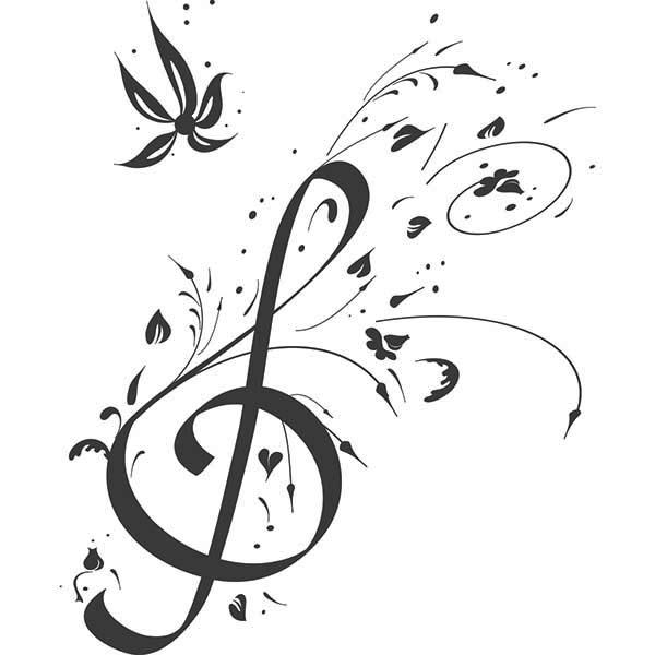 Treble Clef, : Floral Note Treble Clef Coloring Page