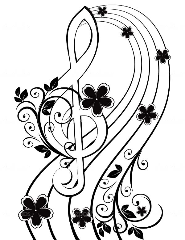 Treble Clef, : Musical background with a treble clef and a flower pattern