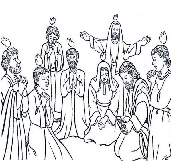 Followers of Jesus Celebrate Pentecost Coloring Page Color Luna