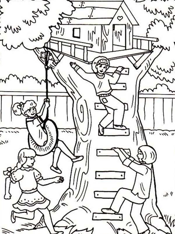 Four Girl Having Fun with Their Treehouse Coloring Page | Color Luna