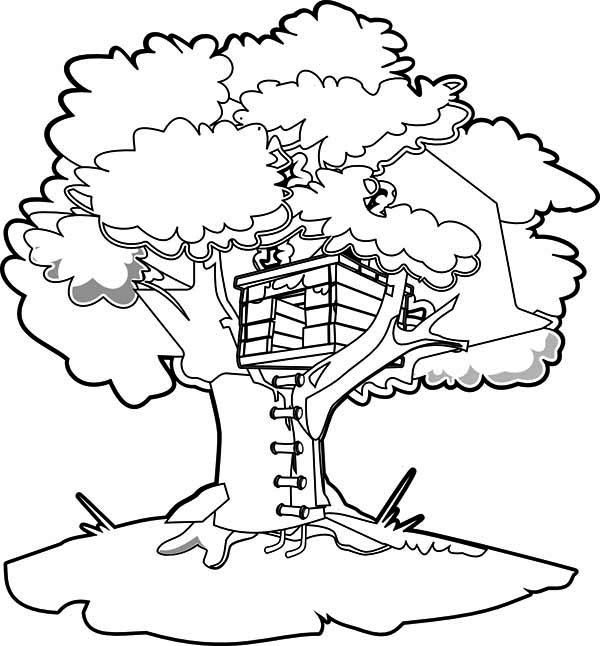 How To Draw A Treehouse Coloring Page