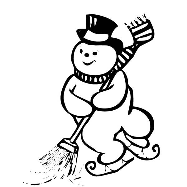 Snowman, : Ice Skating Snowman while Cleaning the Street Coloring Page