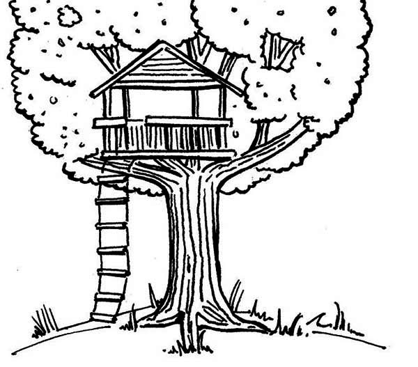 Kids drawing of a treehouse coloring page
