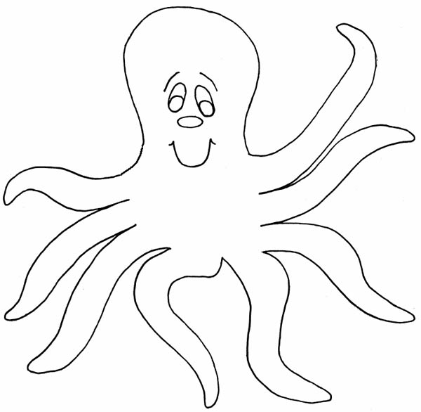 Octopus, : Kids Drawing of an Octopus Coloring Page