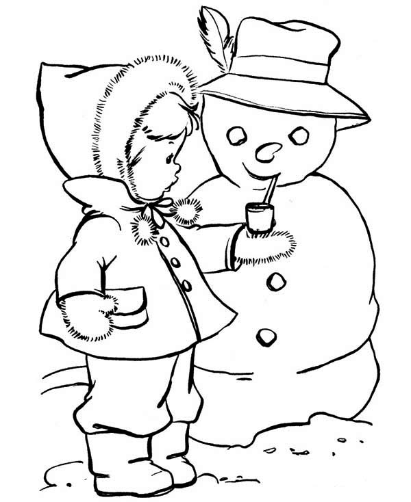 Snowman, : Little Kid Give Snowman Smoking Pipe Coloring Page