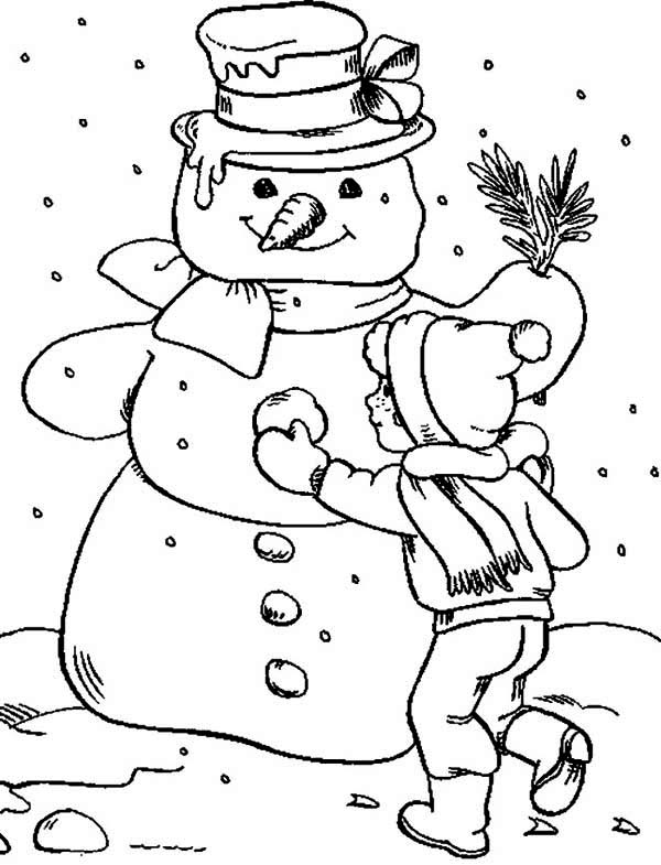 Making Snowman Coloring Page | Color Luna