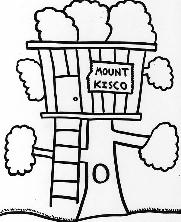 Treehouse, : Mount Kisco Treehouse Coloring Page