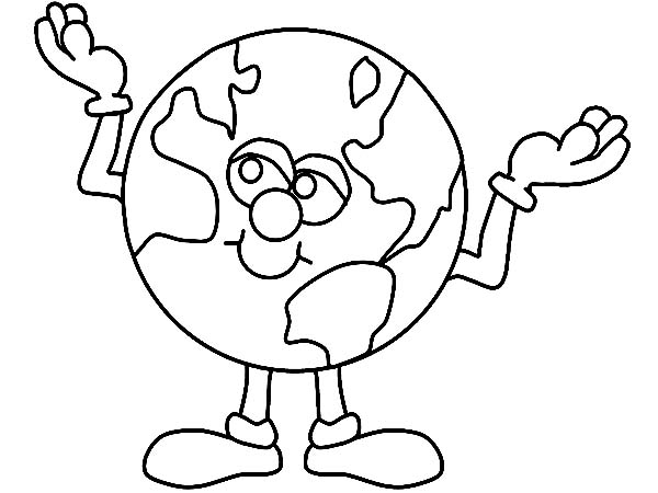 Earth Day, : Mr Earth Day is Always Optimistic About the World Coloring Page