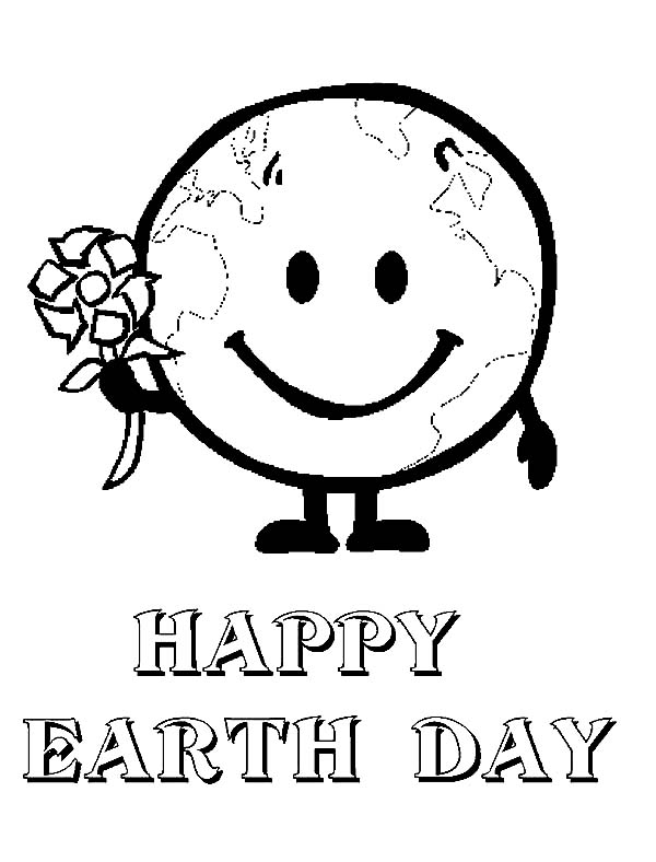 Earth Day, : Mr Earth Say Happy Earth Day to All Coloring Page