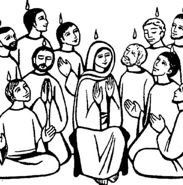 Pentecost, : Obedient Followers of Jesus in Pentecost Coloring Page