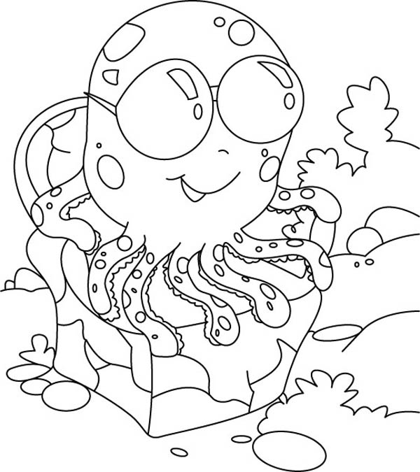 Octopus, : Octopus Wearing Sunglasses Coloring Page