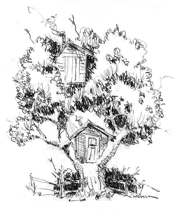 Treehouse, : One Tree Two Treehouse Coloring Page
