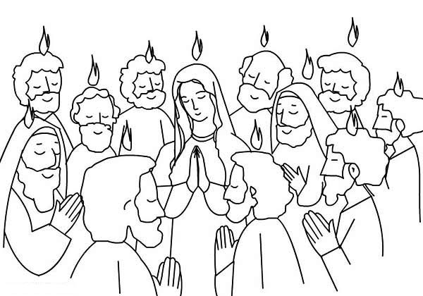 Pentecost Praise Jesus and Holy Spirit Coloring Page Color Luna