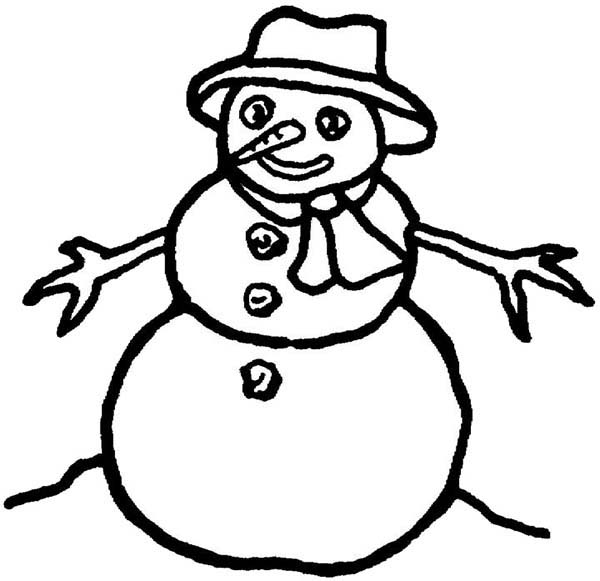 Snowman, : Picture of Snowman Coloring Page