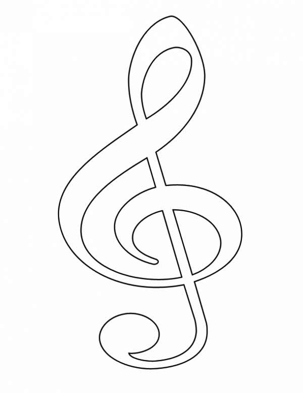 Picture Of Treble Clef Coloring Page Color Luna