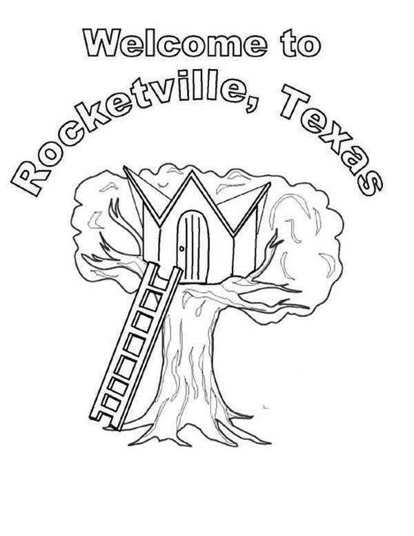 Rocketville Treehouse Coloring Page | Color Luna